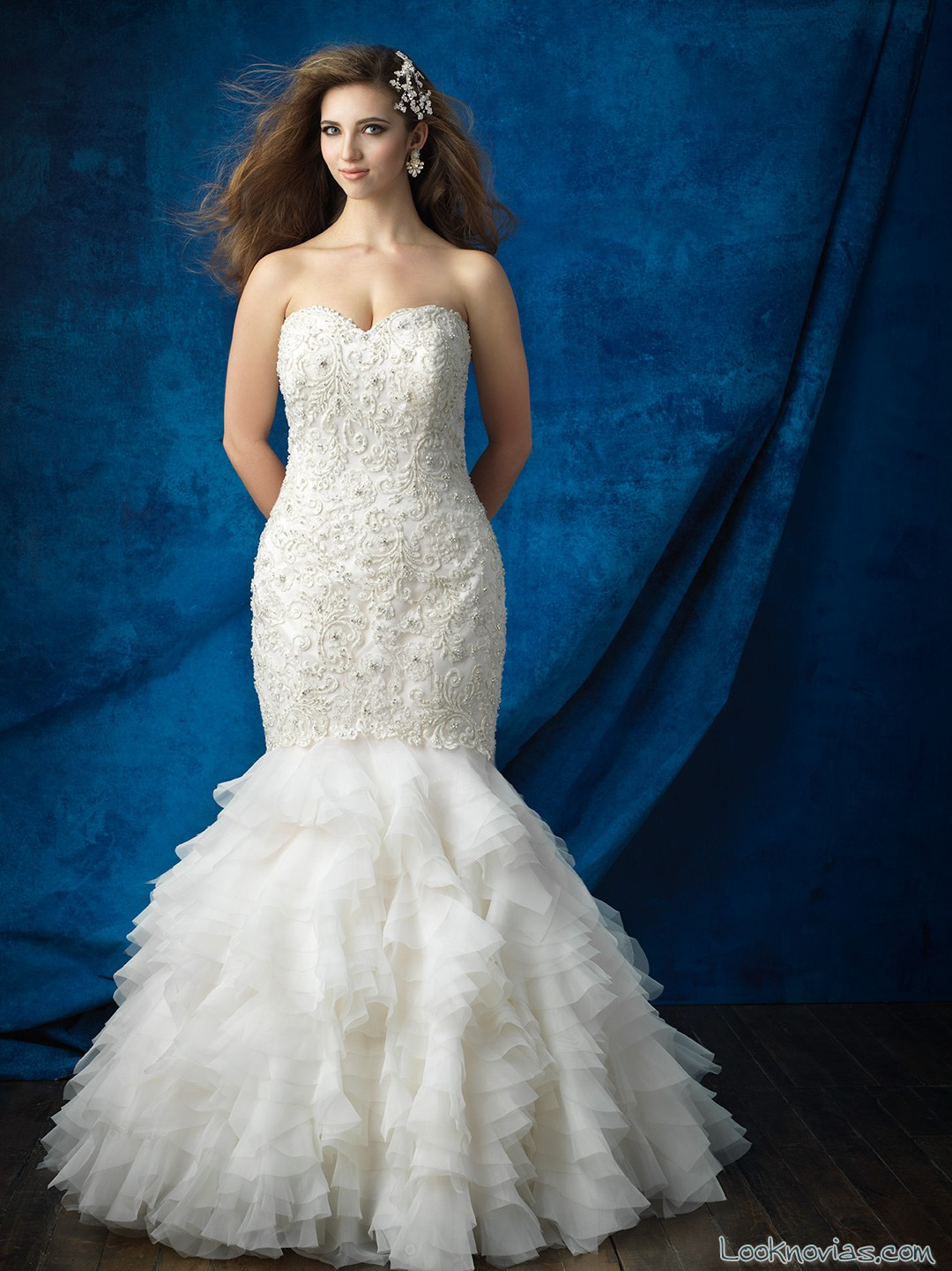 vestido sirena falda volantes allure bridal
