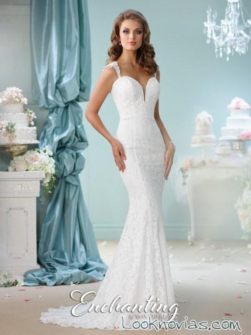 vestido sirena novia en blanco mon cheri