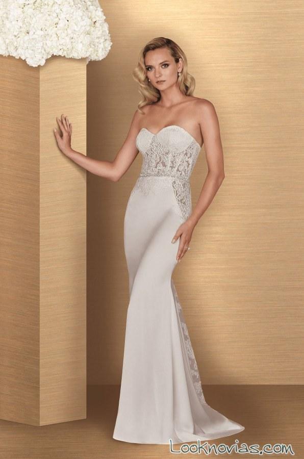vestido sirena paloma blanca con tejido satinado