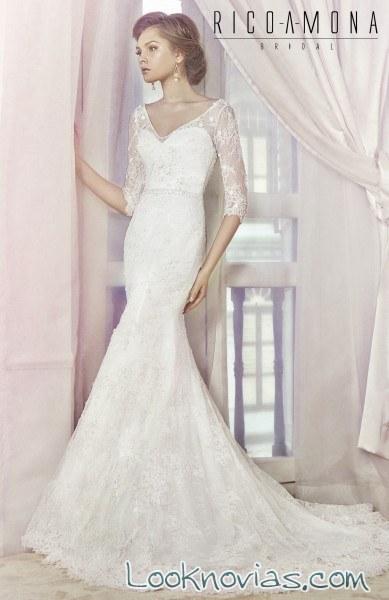vestido sirena para novia con mangas de encaje