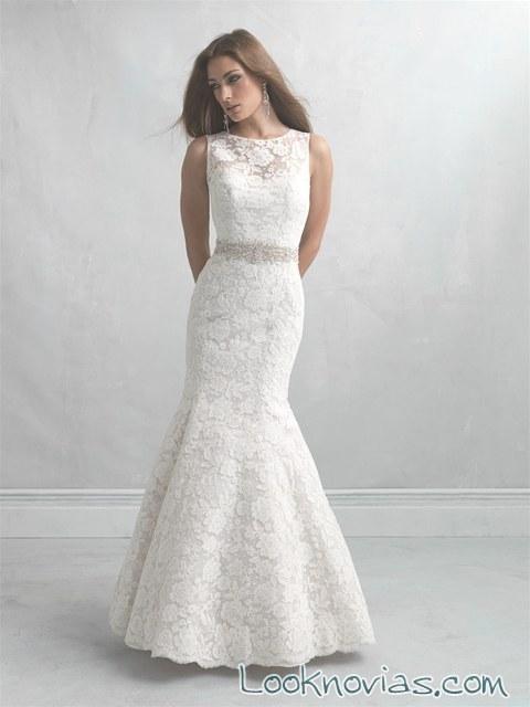 vestido sirena para novias con cinturón pedrería