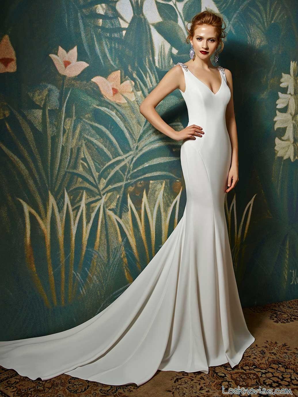 vestido sirena sencillo para novias enzoani