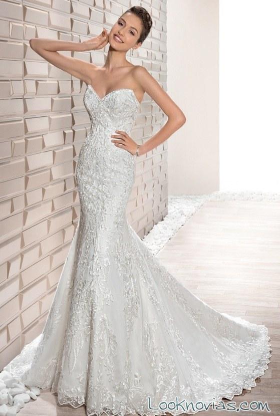 vestido sirena strapless demetrios 2017