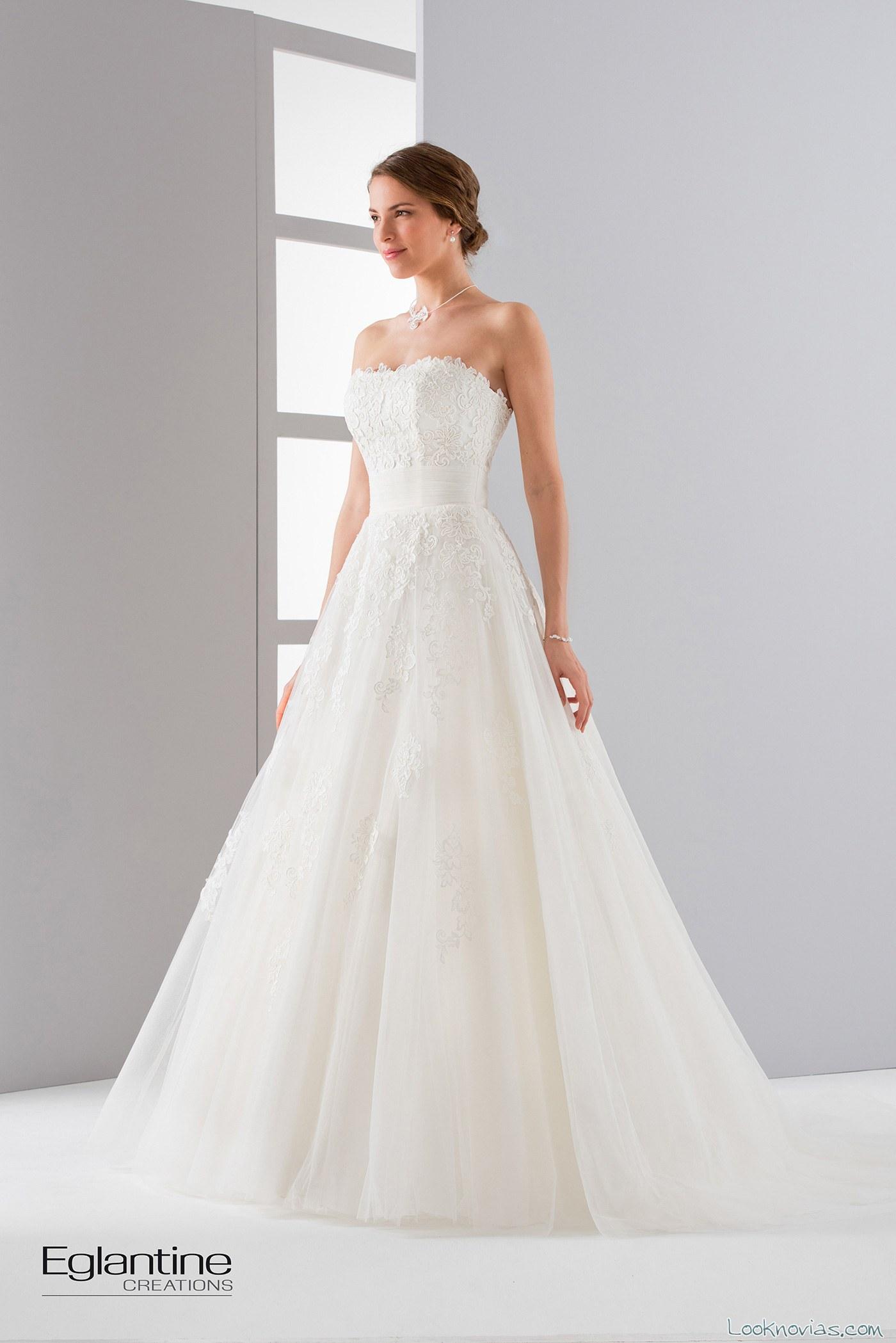 Vestido Strapless novias princesa eglantine