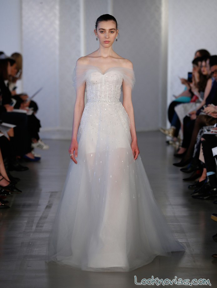 vestido transparente novias oscar de la renta