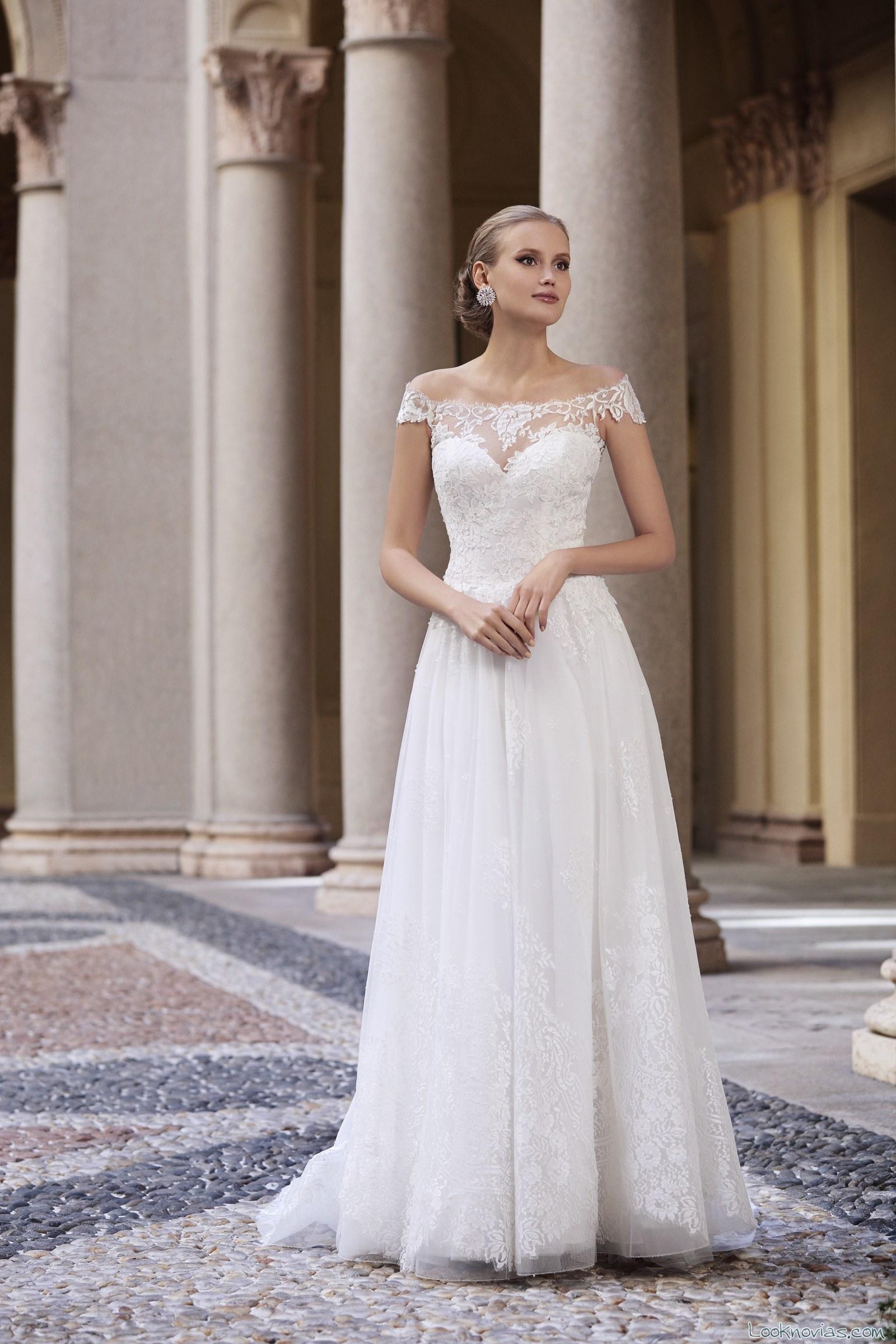 vestido valentini novias escote hombros caidos