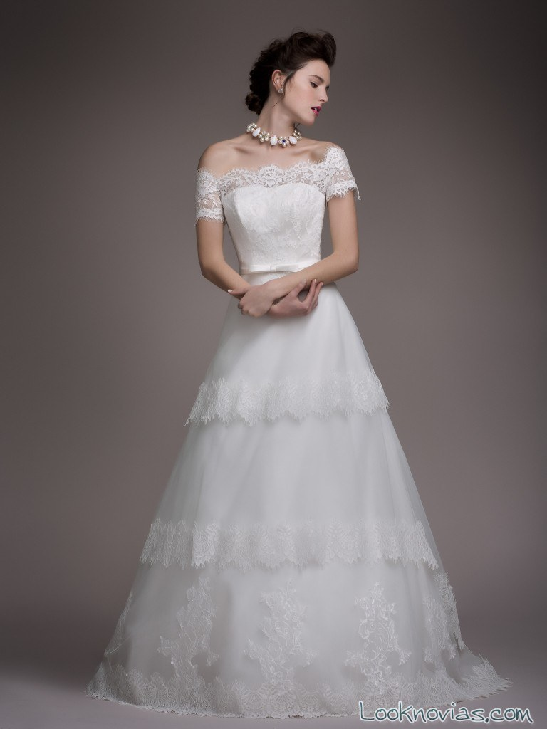 vestido volantes blancary
