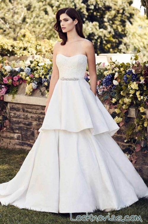 vestido volumen doble falda paloma blanca