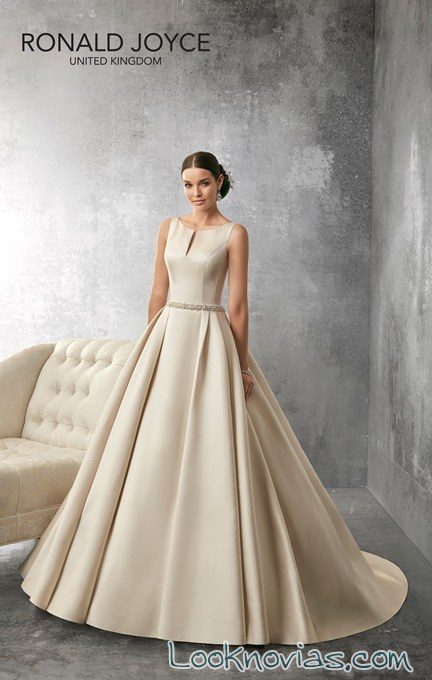 vestido volumen falda satinada ronald joyce