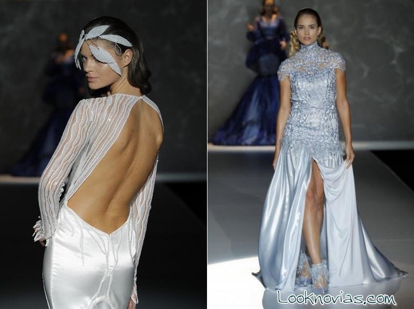 vestidos azul plata para novias