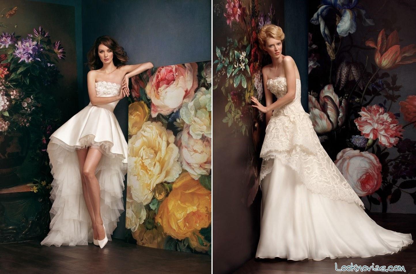 vestidos cortos y asimétricos para novia