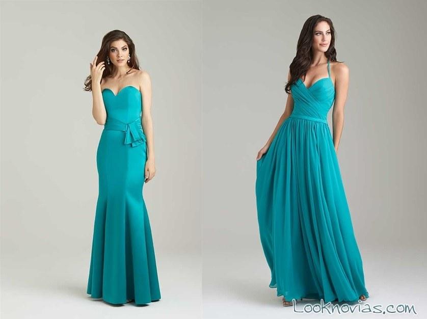 vestidos de dama en color turquesa