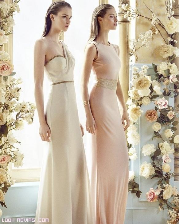 vestidos largos color nude