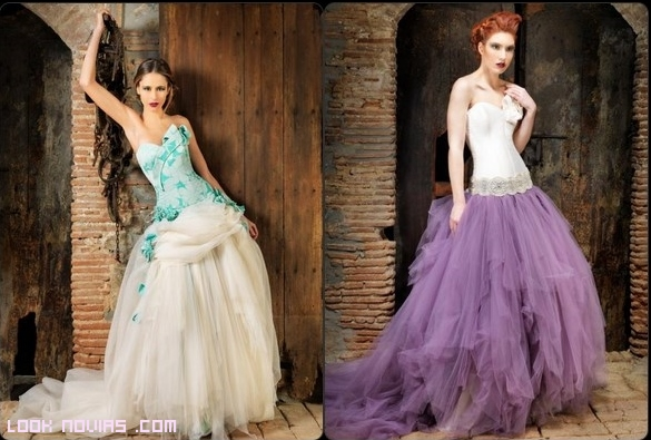 vestidos de novia con corpiños estampados