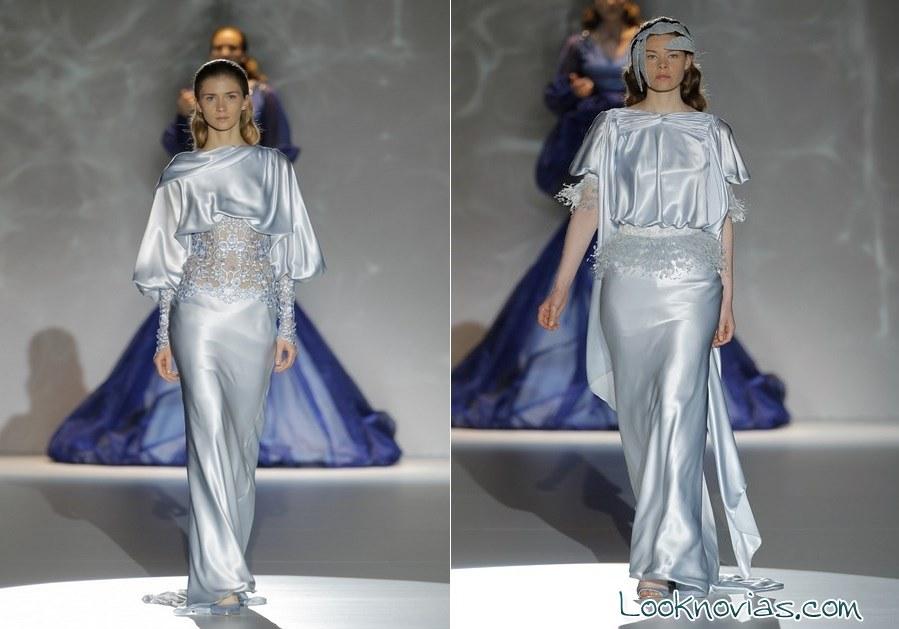 vestidos de raso en azul