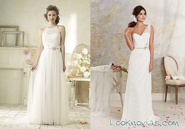 vestidos rectos de alfred angelo y blancos