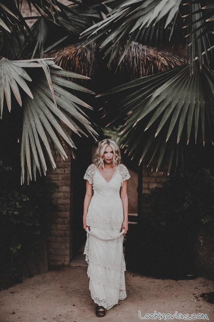 vestidos volantes para novias boho 2017