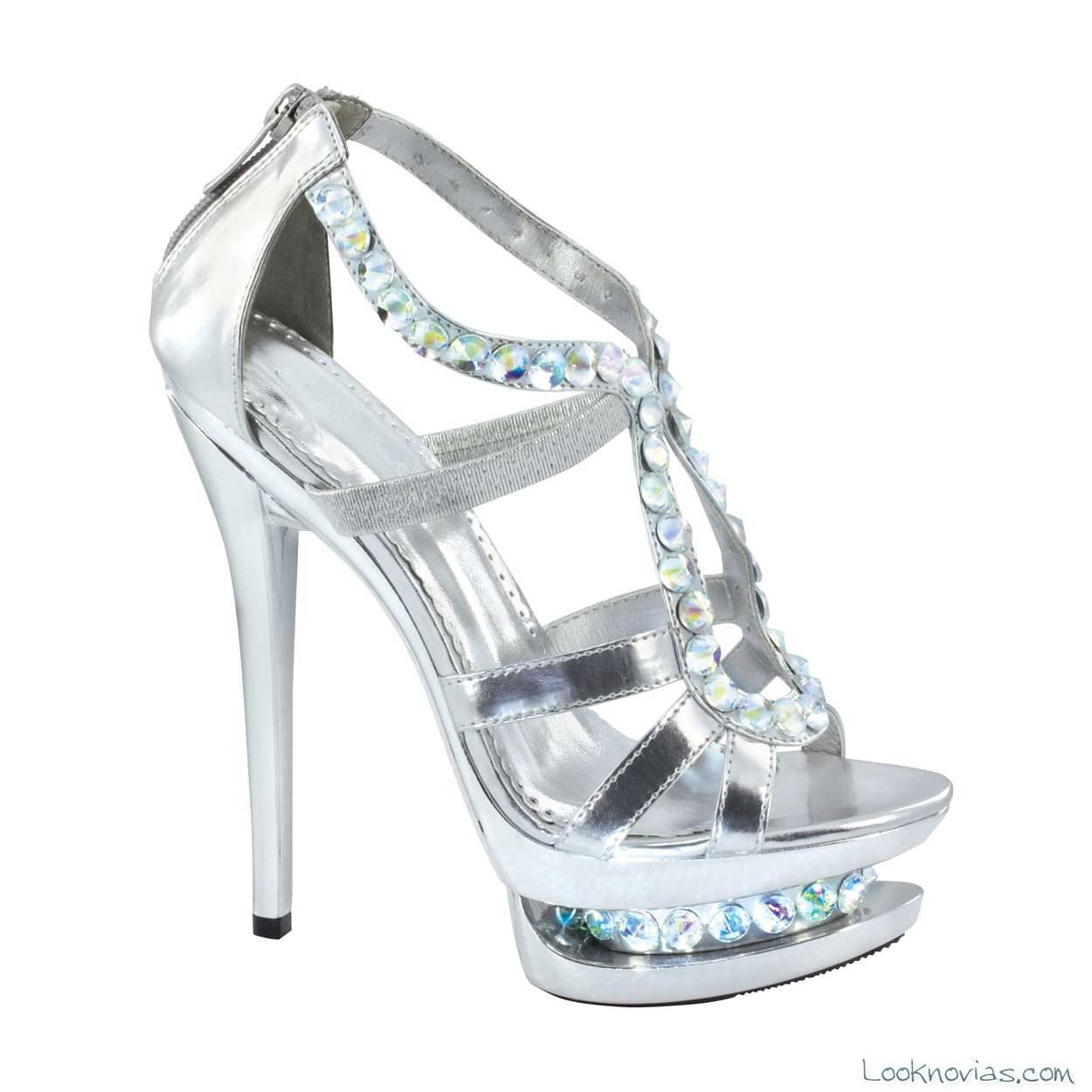 zapatos plata pedrería novias